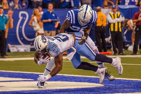 Tennessee Titans running back DeMarco Murray (29) catches a touchdown while Indianapolis Colts free safety T.J. Green (32) defends him in the first half of the game at Lucas Oil Stadium. (Trevor Ruszkowski-USA TODAY Sports)