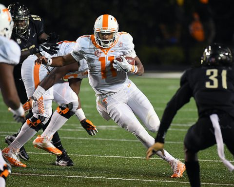 Tennessee Volunteers quarterback Joshua Dobbs (11) runs for a short gain during the second half against the Vanderbilt Commodores at Vanderbilt Stadium. Vanderbilt won 45-34. (Christopher Hanewinckel-USA TODAY Sports)
