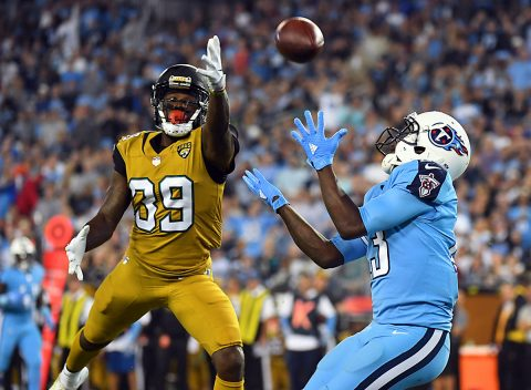 Tennessee Titans wide receiver Kendall Wright (13) catches a touchdown pass behind coverage by Jacksonville Jaguars safety Tashaun Gipson (39) in the first half at Nissan Stadium. (Christopher Hanewinckel-USA TODAY Sports)