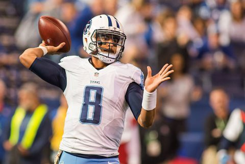 Tennessee Titans quarterback Marcus Mariota (8) passes the ball in the first quarter the game against the Indianapolis Colts at Lucas Oil Stadium. (Trevor Ruszkowski-USA TODAY Sports)