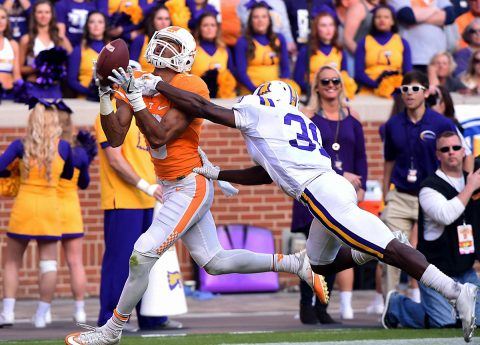 Tennessee Volunteers wide receiver Josh Malone (3) makes a catch for a touchdown in front of Tennessee Tech safety Ricky Ballard (30) during the first half at Neyland Stadium. (Michael Patrick/Knoxville News Sentinel via USA TODAY NETWORK)