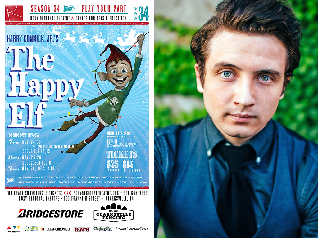 john paul fox is eubie the elf in the roxy regional theatres production of harry