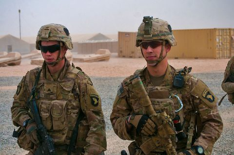 Sgt. Logon Ross, left, and Sgt. Addison Owen, right, Company B, 1st Battalion, 26th Infantry Regiment, Task Force Strike, 101st Airborne Division (Air Assault) in the U.S compound at the Qayyarah West Airfield, Iraq, Nov. 1, 2016. Company B provides security for Coalition forces on the base and was one on the first units at the location. (1st Lt. Daniel Johnson)