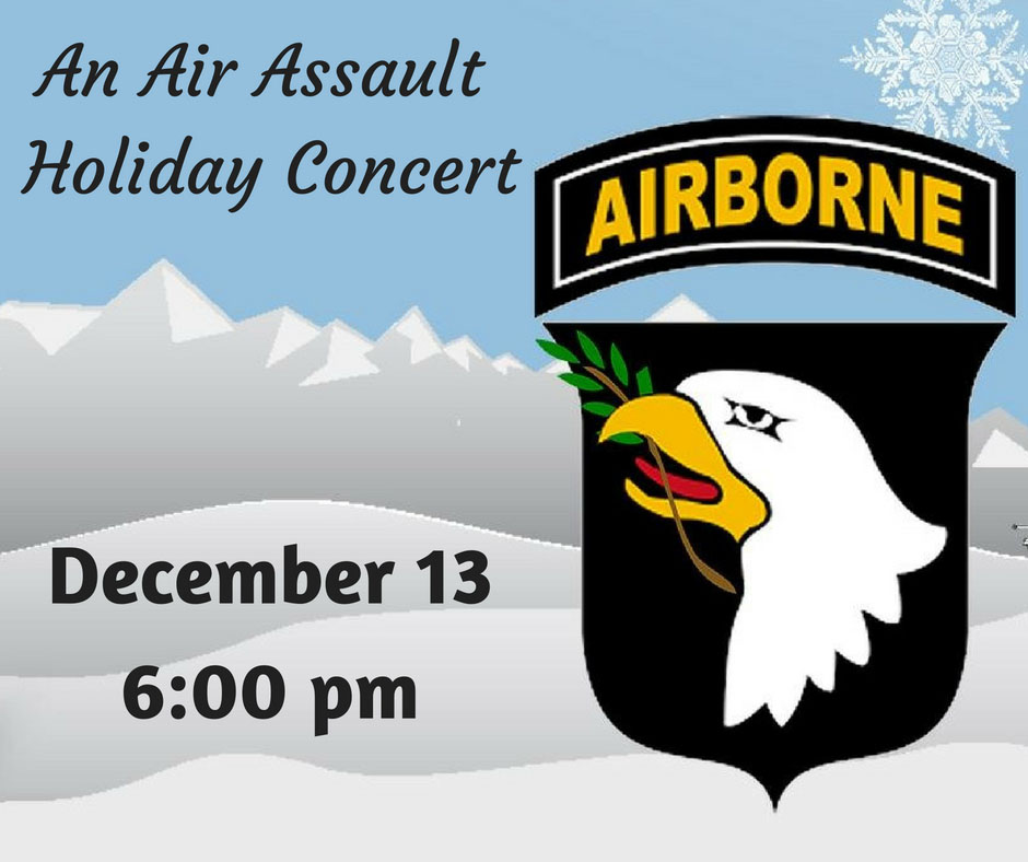 101st Airborne Division Band to hold Holiday Concert Tuesday at Clarksville-Montgomery County Public Library.