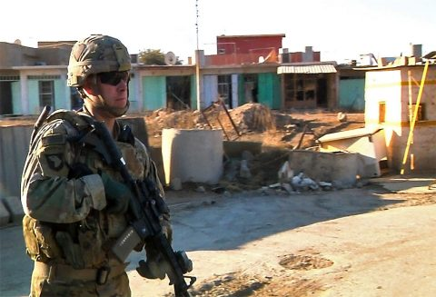 Sgt. 1st Class Brian Bailey, the first sergeant of Company A, 1st Battalion, 26th Infantry Regiment, Task Force Strike, 2nd Brigade Combat Team, 101st Airborne Division (Air Assault), leads a security patrol Dec. 7, 2016, in northern Iraq. Bailey is on his 9th deployment during the Global War on Terror and has spent over 7 years deployed. His first deployment was during the initial invasion of Afghanistan in 2003. (1st Lt. Daniel Johnson)