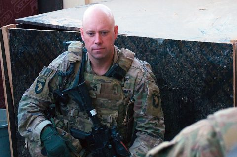 Sgt. 1st Class Brian Bailey, the first sergeant of Company A, 1st Battalion 26th Infantry Regiment, Task Force Strike, 2nd Brigade Combat Team, 101st Airborne Division (Air Assault), waits for Soldiers to arrive to a security patrol briefing, Dec. 7, 2016, in northern Iraq. This is Bailey's 9th deployment during the Global War on Terror, and he has spent over 7 years deployed. As part of Operation Inherent Resolve, he is part of a multi-national effort advising and assisting the Iraqi security forces. (1st Lt. Daniel Johnson)
