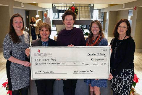 Pictured at the check presentation are (left to right) Jenny Matthews, ASAFMT Executive Director; Brenda Dowdle, ASAFMT Board President; Dr. Lee Fentriss, ASAFMT Board Vice President; Emily Schneller, 100+ Women Who Care of Middle TN Chapter Founder; and Tracy Ayers, 100+ Women Who Care of Middle TN Founding Board Member.