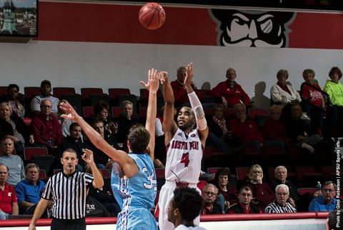 Austin Peay junior guard Josh Robinson scores 28 points in 96-77 loss to Wofford Thursday night. (APSU Sports Information)