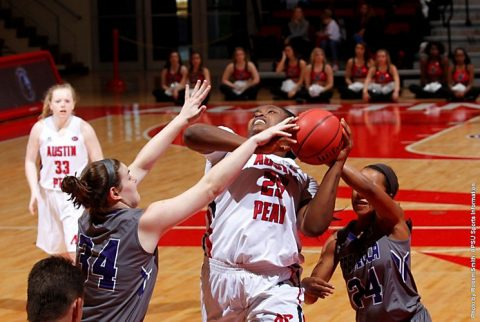Austin Peay's Tearra Banks grabs 14 rebounds to help Govs outrebound Evansville. (APSU Sports Information)