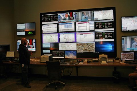 CDE Lightband technicians at the utilities new control center display some of the new digital video tools used to monitor, diagnose and repair the City of Clarksville's electric power system.