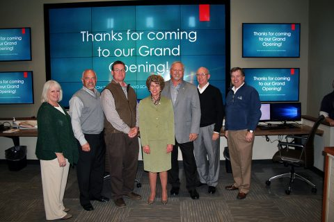 Clarksville Mayor Kim McMillan joined CDE Lightband GM Brian Taylor and others for a grand opening celebration of the utility's new power control center Thursday. From left are, Power Board Members Sally Castleman and Ron Jackson, project architect Brad Martin, McMillan, Taylor, Power Board Chairman Wayne Wilkinson and City Councilman Bill Powers, who represents the council on the Power Board. Leo Milan is also on the Power Board.