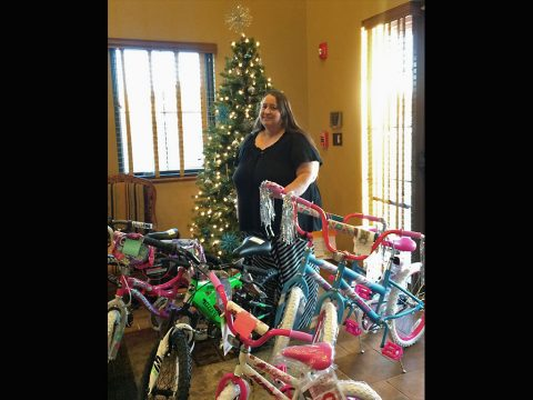 Kathy Knobel with some of the Angel Tree Donations