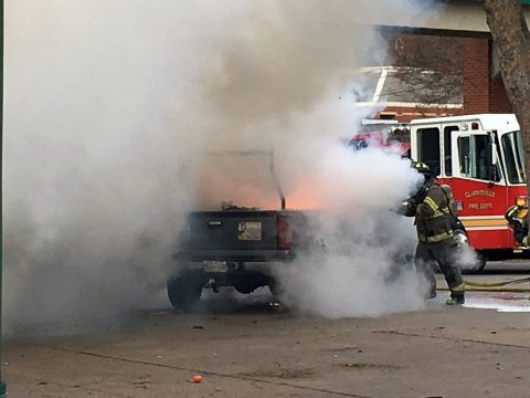 Clarksville Firefighters put out a truck fire on Riverside Drive today. (CPD Sgt Johnny Ferguson)