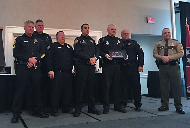 Clarksville Police Department Traffic Unit receives MADD Middle TN Outstanding Department Award.
