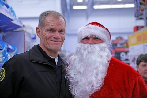 CPD Chief Al Ansley with Santa Claus Traffic Sgt Bret Norfleet. (CPD)