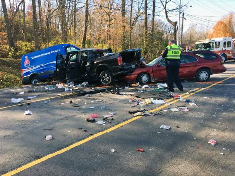 Clarksville Police work a three vehicle accident on Ashland City Road Friday morning.