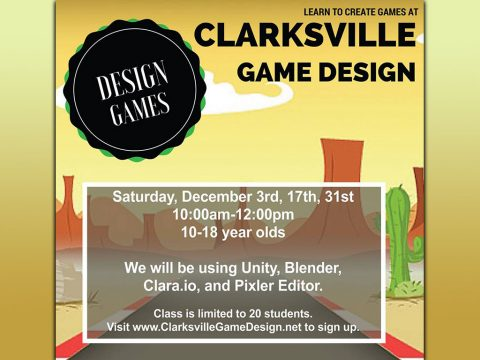 Clarksville Youth Game Design Club to be held at Clarksville-Montgomery County Public Library Saturday, December 17th
