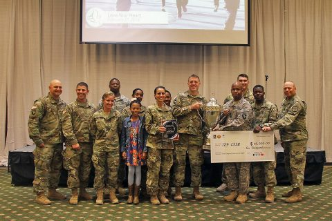 Soldiers from 129th Combat Sustainment Support Battalion, 101st Airborne Division (Air Assault) Sustainment Brigade, 101st Abn. Div., receive the Battalion Commander's Cup, Nov. 17, 2016, during a ceremony at Cole Park Commons Conference Center on Fort Campbell, Ky. (Sgt. Neysa Canfield/101st Airborne Division Sustainment Brigade Public Affairs)