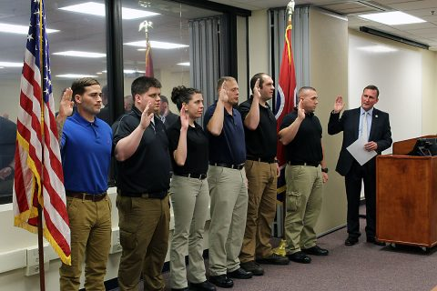 Montgomery County Sheriff John Fuson swears in Six New Jail Deputies
