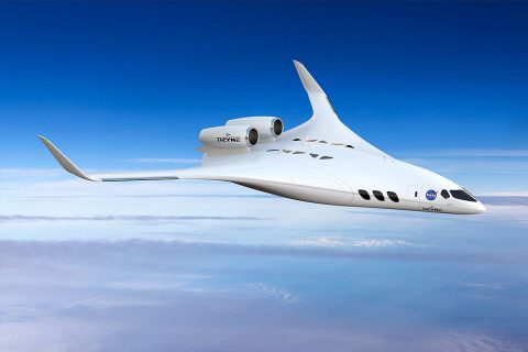 The Dzyne Technologies' regional jet-sized blended wing body design was one of five concepts by different companies awarded NASA contracts to define what it would take to make them into demonstrator X-planes. (DZYNE Technologies / Brendan Kennelly)