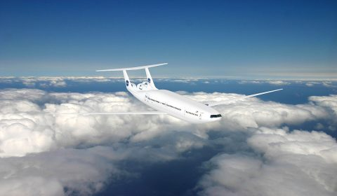 "The ""double bubble"" D8 Series is one aircraft design concept that uses boundary layer ingestion. (NASA/MIT/Aurora Flight Sciences)"