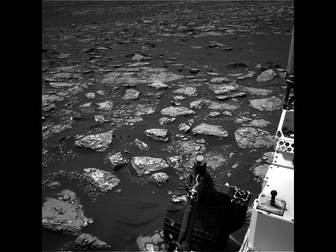"This Dec. 2, 2016, view from the Navigation Camera (Navcam) on the mast of NASA's Curiosity Mars Rover shows rocky ground within view while the rover was working at an intended drilling site called ""Precipice"" on lower Mount Sharp. (NASA/JPL-Caltech)"