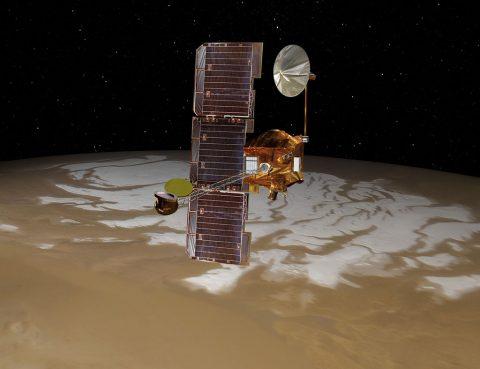 Artist's concept of NASA's Mars Odyssey spacecraft. (NASA/JPL-Caltech)