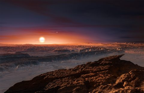 Light and color would look different on a planet orbiting a tiny red star, like this artist's impression of Proxima b. The Earth-sized planet in the habitable zone is the nearest exoplanet to our sun. (ESO/M. Kornmesser)