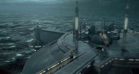 """Obi-Wan Kenobi's ship lands on the ocean world of Kamino in """"Star Wars: Attack of the Clones."""" In our galaxy, Kepler-22b could be a super-Earth with a super ocean. (Disney/Lucasfilm Ltd. & TM.)"""