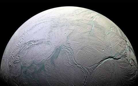 Enceladus is an icy world much like Hoth, except that it may have an ocean under its frozen crust. Astronomers believe this moon of Saturn may be a good candidate for having extraterrestrial life beneath its surface. (NASA)