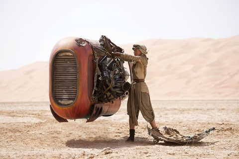 """Jakku, a desert planet in """"Star Wars: The Force Awakens,"""" is populated with scavengers and creatures. Astronomers think that our galaxy also has many desert worlds that may be habitable. (David James/Disney/Lucasfilm Ltd. & TM.)"""