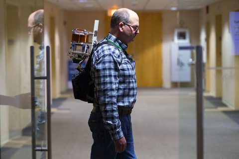 New technology developed at NASA's Jet Propulsion Laboratory can locate firefighters wearing a backpack-sized device. Engineers are working to shrink the device to fit in a pocket. (Paul Wedig/DHS-Science and Technology Directorate.)