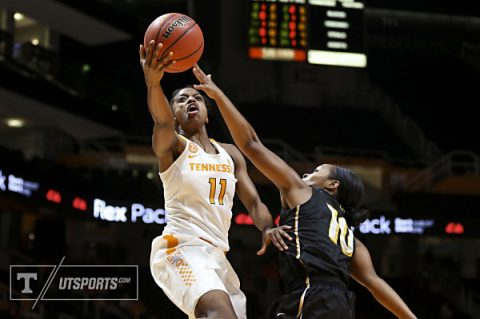 Diamond DeShields #11 of the Tennessee Lady Volunteers during the game between the Appalachian State Mountaineers and the Tennessee Lady Volunteers at Thompson-Boling Arena in Knoxville, TN. (Hayley Pennesi/Tennessee Athletics)