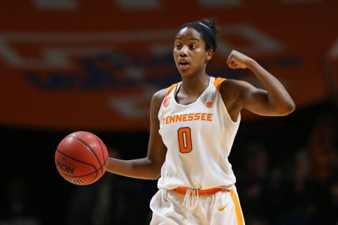 Jordan Reynolds #0 of the Tennessee Lady Volunteers during the game between the Stanford Cardinal and the Tennessee Lady Volunteers at Thompson-Boling Arena in Knoxville, TN. (Alison P. McNabb\Tennessee Athletics)