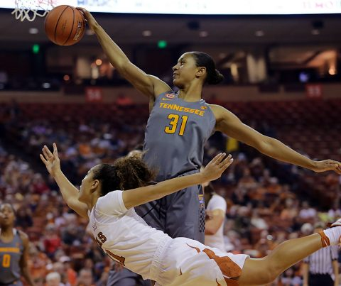 Tennessee Lady Volunteers guard/forward Jaime Nared (31) blocks Texas Longhorns guard Brooke McCarty (11) in the first half at Frank Erwin Center. (Sean Pokorny-USA TODAY Sports)