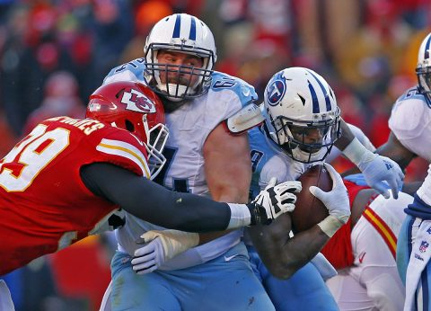 Tennessee Titans running back DeMarco Murray (29) runs down field as guard Josh Kline (64) blocks Kansas City Chiefs defensive tackle Rakeem Nunez-Roches (99) during the second half at Arrowhead Stadium. The Titans won 19-17. (Jay Biggerstaff-USA TODAY Sports)