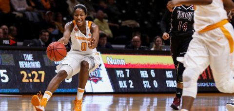 Jordan Reynolds #0 of the Tennessee Lady Volunteers assist and a smile during the game between the Troy Trojans and the Tennessee Lady Volunteers at Thompson-Boling Arena in Knoxville, TN. (Donald Page/Tennessee Athletics)