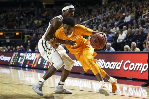 Guard Detrick Mostella #15 of the Tennessee Volunteers during shoot around before the game between the ETSU Buccaneers and the Tennessee Volunteers at Freedom Hall Civic Center in Johnson City, TN. (Craig Bisacre/Tennessee Athletics)