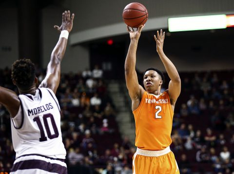 Tennessee Volunteers forward Grant Williams (2) shoots the ball as Texas A&M Aggies center Tonny Trocha-Morelos (10) defends during the first half at Reed Arena. (Troy Taormina-USA TODAY Sports)