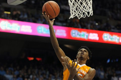 Tennessee Volunteers guard Shembari Phillips (25) shoots over North Carolina Tar Heels forward Isaiah Hicks (4) during the first half at Dean E. Smith Center. Mandatory Credit: Evan Pike-USA TODAY Sports