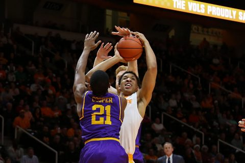Tennessee Volunteers forward Grant Williams (2) goes to the basket against Lipscomb Bisons guard Kenny Cooper (21) during the second half at Thompson-Boling Arena. Tennessee won 92 to 77. (Randy Sartin-USA TODAY Sports)