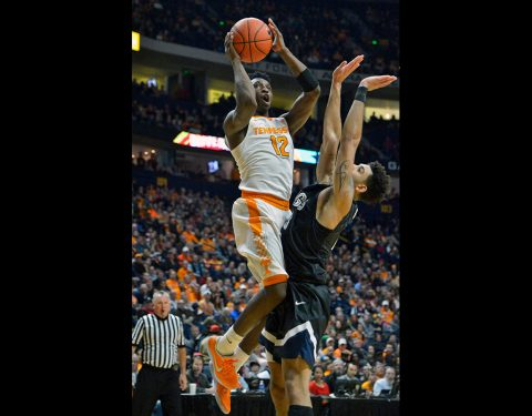 Tennessee Volunteers guard Kwe Parker (12) shoots against Gonzaga Bulldogs guard Josh Perkins (13) during the first half of the Battle on Broadway at Bridgestone Arena. (Jim Brown-USA TODAY Sports)