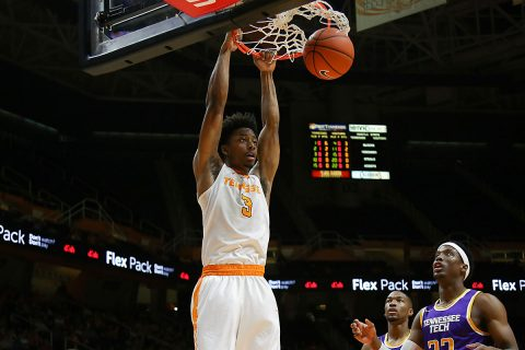 Tennessee Volunteers guard Robert Hubbs III (3) drives to the basket against the Tennessee Tech Golden Eagles during the the first half at Thompson-Boling Arena. (Randy Sartin-USA TODAY Sports)