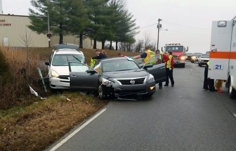 Clarksville Police Officers respond to a traffic accident today on Jack Miller Boulevard.