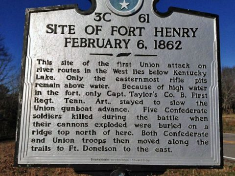 Fort Henry interpretive sign located in the Tennessee portion of Land Between The Lakes. (LBL)