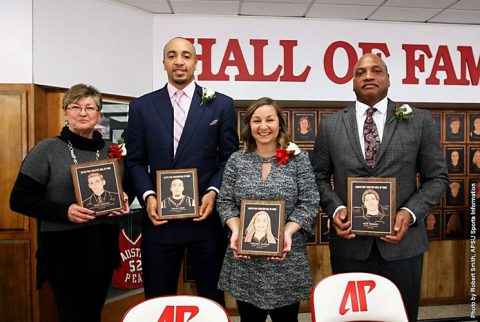 Tom Lincoln, Drake Reed, Chelsea Harris and Ron Sebree were inducted in to the APSU Hall of Fame, Saturday. (APSU Sports Information)
