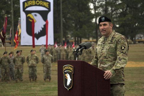 Maj. Gen. Andrew P. Poppas, the incoming division commander for the 101st Airborne Division, speaks to Fort Campbell community members, Families and 101st Airborne Division Soldiers during a change of command ceremony held at the division parade field, Fort Campbell, Kentucky, Jan. 19, 2017. Poppas assumes a command position in the 101st for the second time, as he previously commanded the 1st Brigade Combat Team. (Sgt. William White)