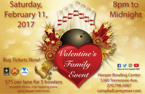 Fort Campbell's Hooper Bowling Center to hold Valentine's Family Event February 11th.