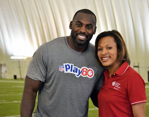 Whitney Mercilus from the Houston Texans and AHA volunteer Mercedes Carnethon, Ph.D. will teach students the science behind cardio and strength exercises that NFL players use to stay fit and active during the NFL PLAY 60 Challenge Virtual Field Trip. (American Heart Association)