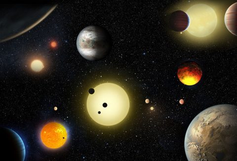 This artist's concept depicts select planetary discoveries made to date by NASA's Kepler space telescope. (NASA/W. Stenzel)